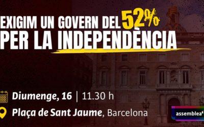 Exigim un govern ara! Diumenge 16 de maig la plaça de Sant Jaume